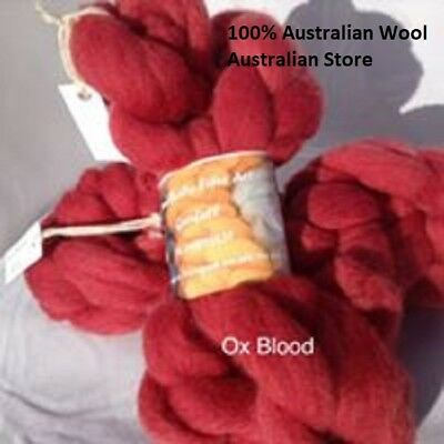 Hand Dyed Wool Fiber Roving   Ox Blood Red 29 micron 100g Felting Spinning