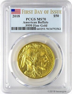 2018 $50 American Gold Buffalo PCGS MS70 First Day of Issue - Blue Flag Label