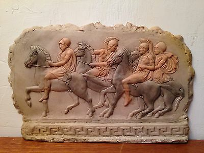 Roman / Trojan Horse Rider Standing Wall Plaque w Greek Key Ceramic