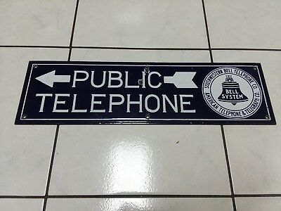 2 Sided Public Telephone... Bell System... At&t Southwestern Bell Porcelain Sign