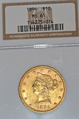 1894 $10.00 Gold Coronet Ngc Ms61  A Gorgeous Coin