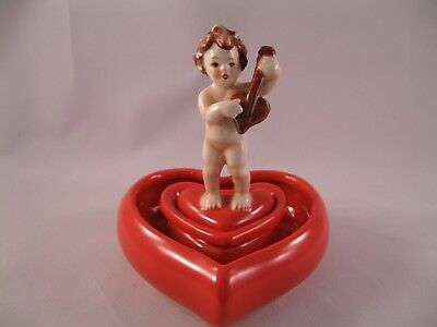 Rare Vintage Goebel Cupid on Heart 2 Piece Figurine 56 122-12