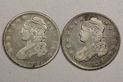 1832 and 1836 Capped Bust Half Dollars *VF*