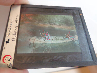 Early Color Glass Slide-Ojibway Indians in Canoe Hunting Minnesota
