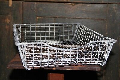Vintage Primitive Steel Wire Office Desk File Basket / Tray Wire Office Tray