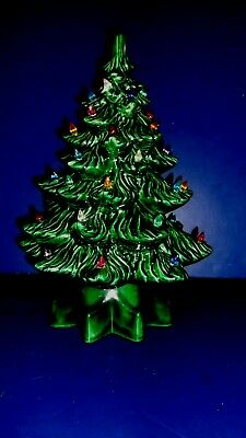 vintage dark green lighted ceramic 12 inch christmas tree with music box