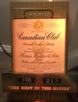 VINTAGE LIGHTED CANADIAN CLUB Whiskey Bar Sign Calendar Gold 60s Canada Walker