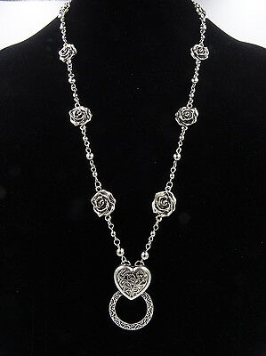 New Antiqued Silver Eyeglass Holder Necklace with Roses & Heart Pendant #Z2030