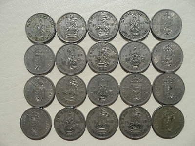 Lot of 20 English One Shilling Coins of England - Great Britain