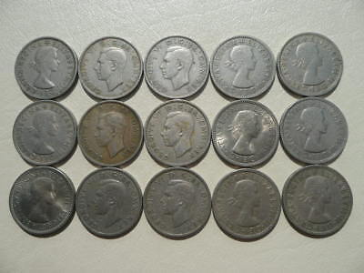 Lot of 15 English Two Shilling Coins of England