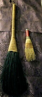 TWO Vintage Hand Made Straw Brooms, both  Unique styles.