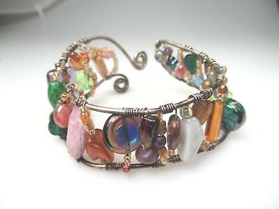 Unique Multi Glass Bead And Stone Wide Hand Made Cuff Bracelet