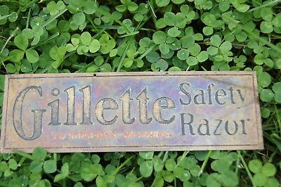 GILLETTE SAFETY RAZOR BRASS HANGING SIGN 1930s 1940s NO STROPPING NO HONING NICE