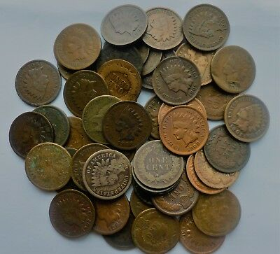 Indian Head Penny Roll   1860s 1870s 1880s 1890s 1900s  50 Coins Flying  Eagle
