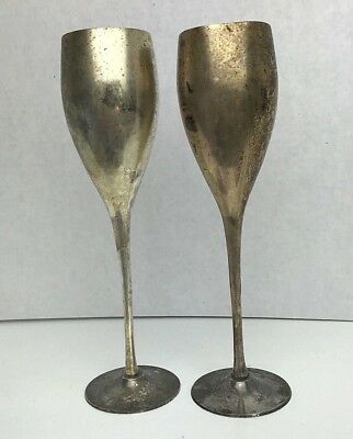 Set of 2 Antique Silver Plated Wine Goblets