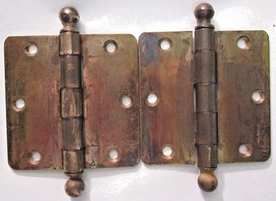 "Pair 2 Antique 3-1/2"" Square Hinges Ball Tips Finials Brass Plated Mortise Door"