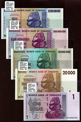 "Zimbabwe ""$100-Trillion Series"" (2008) 3AU 5-Pc UNC Notes {pakimProPAK} VA170b.1"