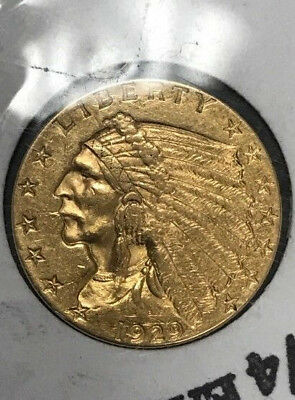 1929 $2.5 Dollar US Indian Head Gold, Eagle Coin, 2 1/2, Very Nice Condition