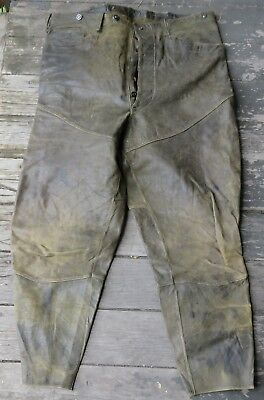 Early Vtg Leather Motorcycle Racing Pants Lace Up Cuffs Mid Western SportTogs