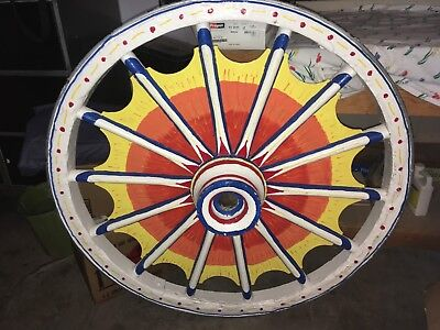 "Beautiful Old Antique Vintage Circus Carnival Wagon Wheel 44"" Diameter"