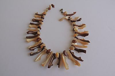 Estate African Tribal Natural Shell Dagger Native Style Necklace 13 1/2""
