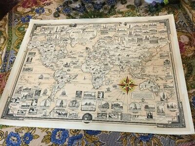ORIGINAL PICTORIAL 1939 STORY World Map Rare ERNEST DUDLEY CHASE World Wonders