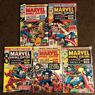 Marvel Double Feature 1975-1976 5 Book Marvel Comic Lot Bronze Age Iron Man