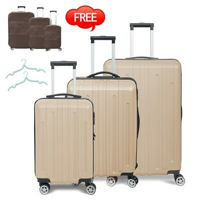 3PC Luggage Set ABS Travel Bag Trolley Spinner Business Suitcase Hard Shell Gray