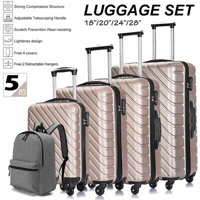 4PCS Hard Shell Luggage Set Travel ABS Bag Trolley Spinner Business Case Pink