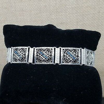 Art Deco Sterling Silver and Blue Glass Accent Filigree Panel Bracelet 7.25""
