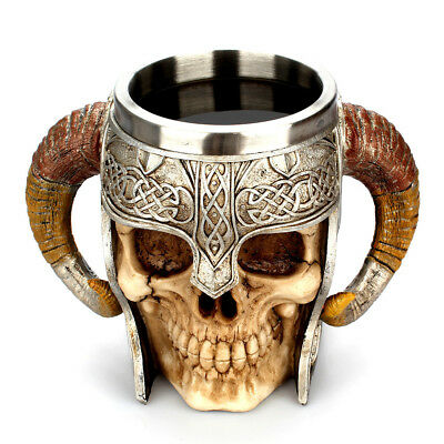 Coffee Mug Resin Striking Warrior Tankard Viking Skull Double Wall Halloween Cup