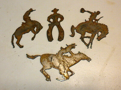 """Lot of 4 Cowboy Horse Western Shapes 3"""" - 5"""" Rusty Metal Vintage Ornament Craft"""