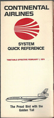 Continental Airlines system timetable 2/1/74 [7084]