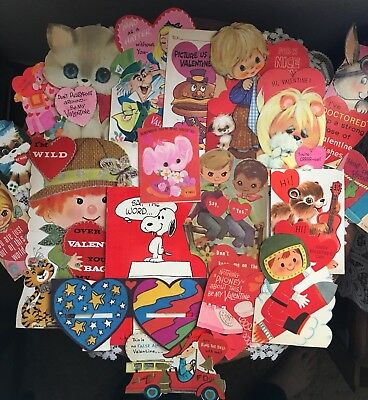 Vintage Children's Valentine's Day Greeting Card Lot Of 20 Cards, 1960's-1970's