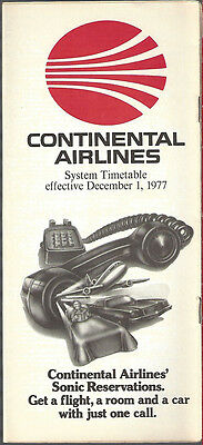 Continental Airlines system timetable 12/1/77 [7084]