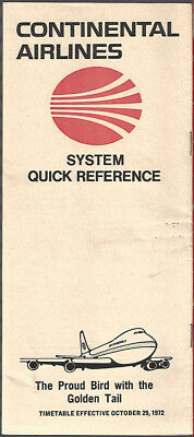 Continental Airlines system timetable 10/29/72 [7084]