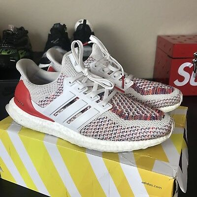 12b5ccfe7 Adidas Ultra Boost 2.0 White Red Multi-Color BB3911 Men s Running Sz 9.5