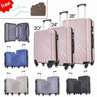 3PC Luggage Set Travel Bag Trolley ABS Spinner Hard Shell Business Trip Suitcase