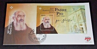 Malta FDC First Day Cover 50th Anniv. Death of Padre Pio Issued 22 Sept 2018 MS