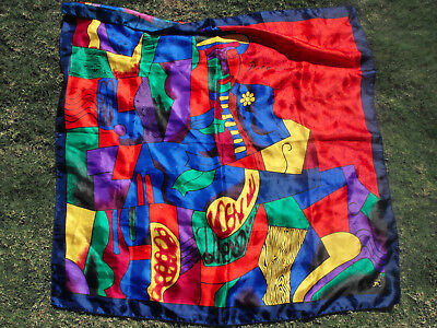 Vintage PICASSO ART PRINT MULTICOLOUR SQUARE SCARF Selvin Korea 1980s Polyester