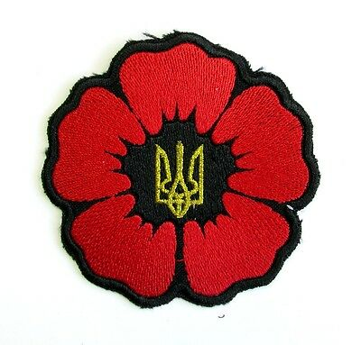 Ukraine Army Tactical Morale Military Embroidered Patch Flower Poppy Red #405
