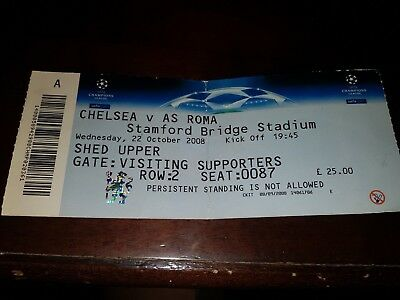 CHELSEA v roma  OFFICIAL USED MATCH TICKET CALCIO CHAMPIONS LEAGUE 2008