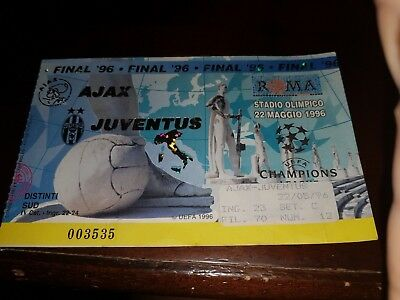 Juventus V Ajax   Official Used Match Ticket Finale Champions League Roma 1996
