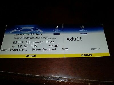ARSENAL v roma   OFFICIAL USED MATCH TICKET CALCIO champions league 2009