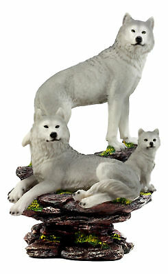 """Large Wolf Family Statue 14.25""""H Wildlife Animal Resin Figurine Decor Wolves"""