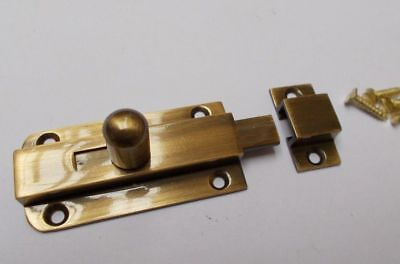 VINTAGE SMALL KNOB BOLT -old retro style door slide lock latch antique brass
