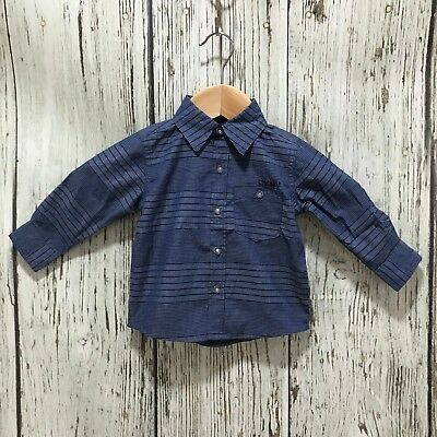 NEW DKNY Blue Stripe Cotton Soft Smart Casual Shirt Baby Boy Age 12 Months 24588