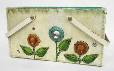 Vintage 1960s ENID COLLINS of Puerto Rico Paper Mache BOX PURSE Jeweled Flowers