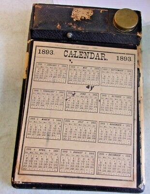 Antique Lap or Field Desk Writing Case Bo with Brass Ink Well & 1893 Calendar