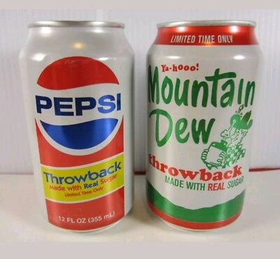2011 MOUNTAIN DEW & PEPSI Throwback FULL 12 oz. Cans Sugar Unopened